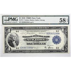 Fr. 711. 1918 $1 Federal Reserve Bank Note. PMG Choice About Uncirculated 58 EPQ.