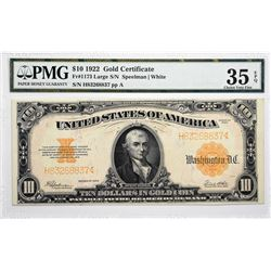 Fr. 1173. 1922 $10 Gold Certificate. PMG Choice Very Fine 35 EPQ.