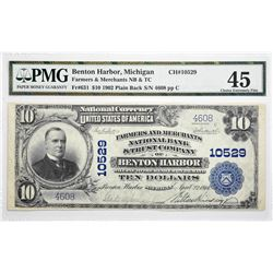 Benton Harbor, Michigan. $10 1902 Plain Back. Fr. 631. Farmers and Merchants NB & TC. Charter 10529.