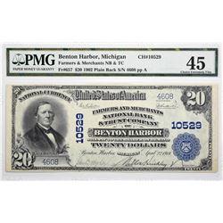Benton Harbor, Michigan. $20 1902 Plain Back. Fr. 657. Farmers and Merchants NB & TC. Charter 10529.