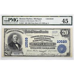 Benton Harbor, Michigan. $20 1902 Plain Back. Fr. 657. Farmers and Merchants NB & TC. Charter 10529.