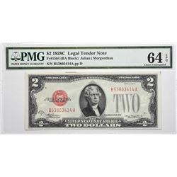 Lot of (3) 1928C & 1928D $2 Legal Tender Notes. PMG Choice Uncirculated 64 EPQ.