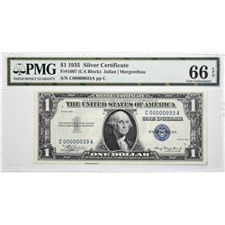 Fr. 1607. 1935 $1 Silver Certificate. PMG Gem Uncirculated 66 EPQ. Low Serial Number.