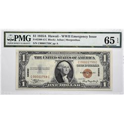 Fr. 2300. 1935A $1 Hawaii Emergency Note. PMG Gem Uncirculated 65 EPQ.