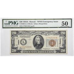 Fr. 2305. 1934A $20 Hawaii Emergency Note. PMG About Uncirculated 50.