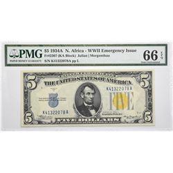 Fr. 2307. 1934A $5 North Africa Emergency Note. PMG Gem Uncirculated 66 EPQ.