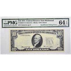 Fr. 2022-E. 1974 $10 Federal Reserve Note. Richmond. PMG Choice Uncirculated 64 EPQ. Insufficient In