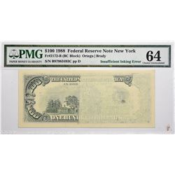 Fr. 2172-B. 1988 $100 Federal Reserve Note. New York. PMG Choice Uncirculated 64. Insufficient Inkin