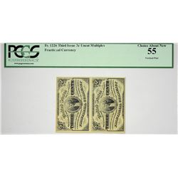 Vertical Strip of (2) Fr. 1226. 3 Cent. Third Issue. PCGS Currency Choice About New 55.