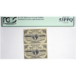Vertical Strip of (2) Fr. 1226. 3 Cent. Third Issue. PCGS Currency About New 53 PPQ.