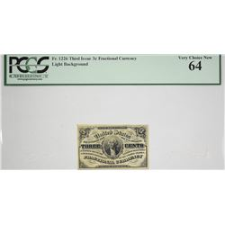Fr. 1226. 3 Cent. Third Issue. PCGS Currency Very Choice New 64.