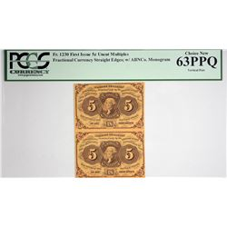 Vertical Strip of (2) Fr. 1230. 5 Cent. First Issue. PCGS Currency Choice New 63 PPQ.
