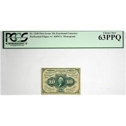 Fr. 1240. 10 Cent. First Issue. PCGS Currency Choice New 63 PPQ.