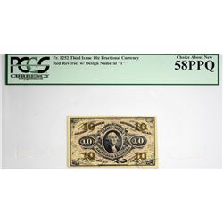 Fr. 1252. 10 Cent. Third Issue. PCGS Currency Choice About New 58 PPQ.
