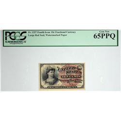 Fr. 1257. 10 Cent. Fourth Issue. PCGS Currency Gem New 65 PPQ.