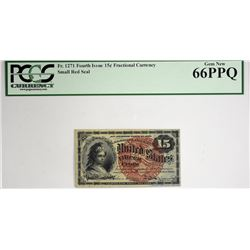 Tied for Third Finest 15 Cent. Fr. 1271. 15 Cent. Fourth Issue. PCGS Currency Gem New 66 PPQ.