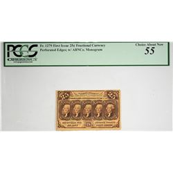 Lot of (3) Fr. 1279, 1281 & 1282. 25 Cent. First Issue. PCGS Currency Graded.