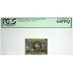 Fr. 1286. 25 Cent. Second Issue. PCGS Currency Very Choice New 64 PPQ.