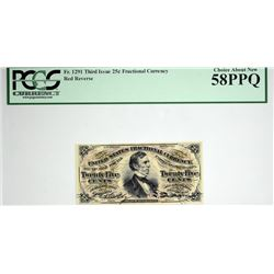 Lot of (3) Fr. 1291, 1294 & 1295. 25 Cent. Third Issue. PCGS Currency Choice About New 58 PPQ & Choi