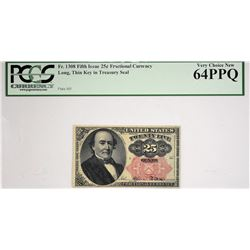 Lot of (2) Fr. 1308 & 1308. 25 Cent. Fifth Issue. PCGS Currency Very Choice New 64 PPQ.