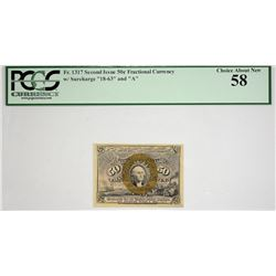 Lot of (2) Fr. 1317 & 1318. 50 Cent. Second Issue. PCGS Currency Choice About New 58 & New 62 PPQ.