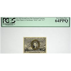 Fr. 1322. 50 Cent. Second Issue. PCGS Currency Very Choice New 64 PPQ.