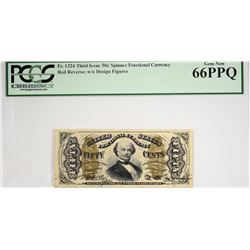 Tied for Finest Spinner 50 Cent. Fr. 1324. 50 Cent. Third Issue. Spinner. PCGS Currency Gem New 66 P