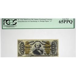 Fr. 1334. 50 Cent. Third Issue. Spinner. PCGS Currency Gem New 65 PPQ.
