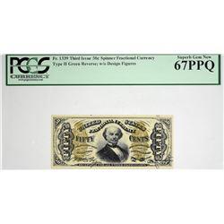 Superb Gem Spinner 50 Cent. Fr. 1339. 50 Cent. Third Issue. Spinner. PCGS Currency Superb Gem New 67