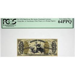 Very Choice Justice 50 Cent. Fr. 1370. 50 Cent. Third Issue. Justice. PCGS Currency Very Choice New