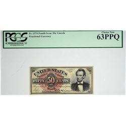 Fr. 1374. 50 Cent. Fourth Issue. Lincoln. PCGS Currency Choice New 63 PPQ.