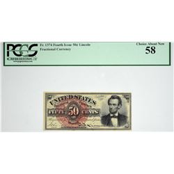 Fr. 1374. 50 Cent. Fourth Issue. Lincoln. PCGS Currency Choice About New 58.