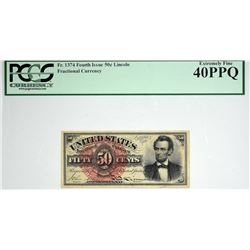 Fr. 1374. 50 Cent. Fourth Issue. Lincoln. PCGS Currency Extremely Fine 40 PPQ.