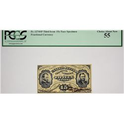 Lot of (2) Fr. 1274sp & 1276sp. 15 Cent. Third Issue. PCGS Currency Graded. Face and Back Specimens.