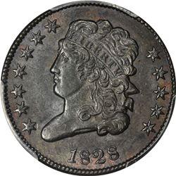 1828 Classic Head 1/2¢. C-2. 12 Stars. Rarity-2. AU-58 PCGS.
