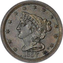 1857 Braided Hair 1/2¢. C-1. Rarity-2. MS-62 BN PCGS.