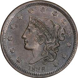 1838 Coronet Head 1¢. N-6. Rarity-1. AU-55 BN NGC.