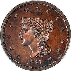 Gem RB Proof 1841 Cent. 1841 Braided Hair 1¢. N-1. Rarity-5. Proof-65 RB PCGS.