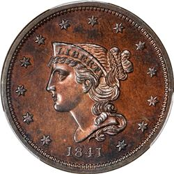 Gem RB Proof 1841 Cent. 1841 Braided Hair 1¢. N-1. Rarity-5. Proof-65 RB PCGS.