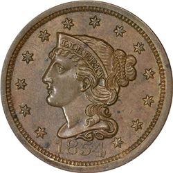 1854 Coronet Head 1¢. N-8. Rarity-1. MS-64 BN PCGS.