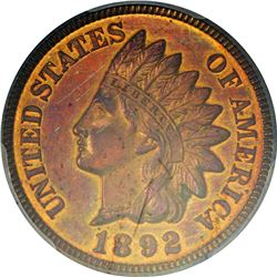 1892 Indian 1¢. Proof-64 RB PCGS.