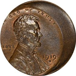 Mint Error. 1919-S Lincoln Cent. 20% Off-Center. MS-64 BN PCGS.