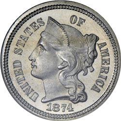 1874 Nickel 3¢. Proof-65 Cameo NGC.