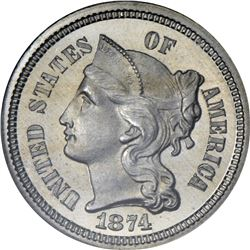 1874 Nickel 3¢. Proof-65 Cameo NGC.