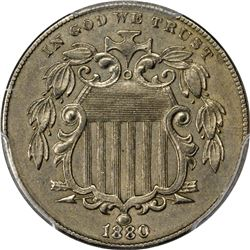1880 Shield 5¢. Genuine - Damage - EF Details PCGS.