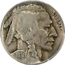 1936-D Buffalo 3 ½ Legged 5¢. VG-10 PCGS.