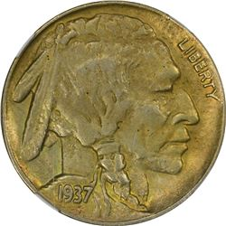 Famous 1937-D Three-Legged Buffalo Nickel. 1937-D Three-Legged Buffalo 5¢. MS-61 NGC.