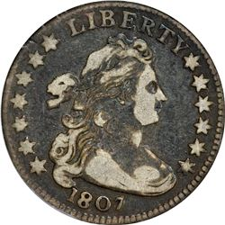 1807 Draped Bust 10¢. Draped Bust. JR-1. Rarity-1. VF-20 ANACS.