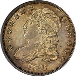 1835 Capped Bust 10¢. JR-6. Rarity-4. MS-62 PCGS. CAC.