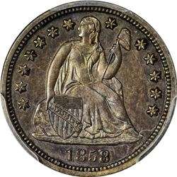 1858 Seated Liberty 10¢. Proof-63 PCGS.